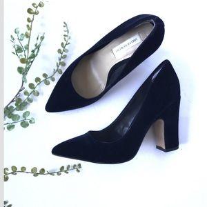 Saks Fifth Avenue block heel pointed toe black
